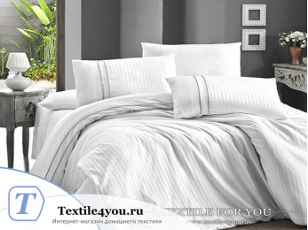 Постельное белье DO&CO STRIPE STYLE Сатин жаккард DELUX (Евро) - Белый