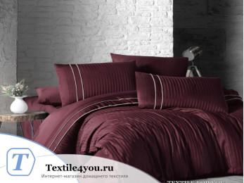 Постельное белье DO&CO STRIPE STYLE Сатин жаккард DELUX (Евро) - Бордовый