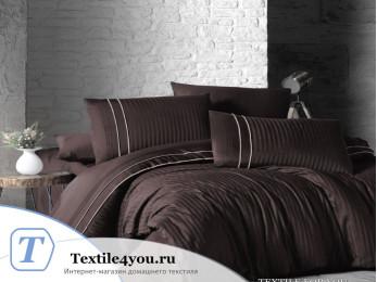 Постельное белье DO&CO STRIPE STYLE Сатин жаккард DELUX (Евро) - Шоколадный