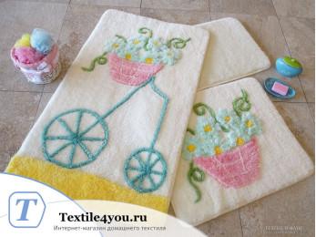 Набор ковриков для ванной DO&CO  ALACATI (60x100 см; 50x60 см) Жёлтый