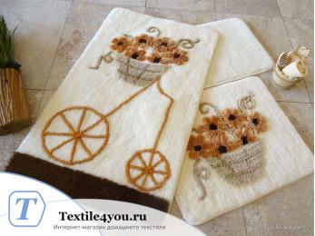 Набор ковриков для ванной DO&CO  ALACATI (60x100 см; 50x60 см) Коричневый