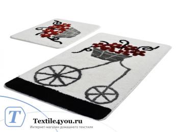 Набор ковриков для ванной DO&CO  ALACATI (60x100 см; 50x60 см) Красный