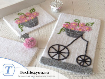 Набор ковриков для ванной DO&CO  ALACATI (60x100 см; 50x60 см) Розовый