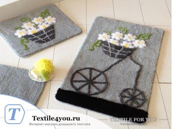 Набор ковриков для ванной DO&CO  ALACATI (60x100 см; 50x60 см) Серый