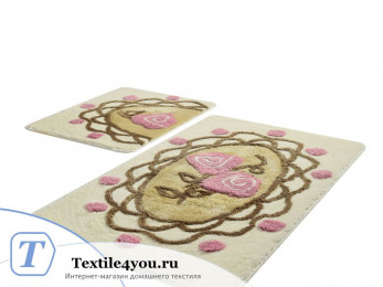 Набор ковриков для ванной DO&CO  DANTEL (60x100 см; 50x60 см) Бежевый