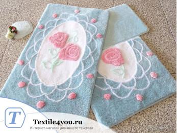 Набор ковриков для ванной DO&CO  DANTEL (60x100 см; 50x60 см) Голубой