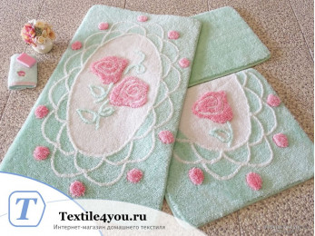 Набор ковриков для ванной DO&CO  DANTEL (60x100 см; 50x60 см) Мятный