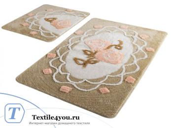Набор ковриков для ванной DO&CO  DANTEL (60x100 см; 50x60 см) Персиковый