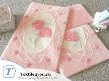 Набор ковриков для ванной DO&CO  DANTEL (60x100 см; 50x60 см) Розовый