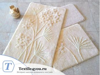 Набор ковриков для ванной DO&CO  ORKIDE (60x100 см; 50x60 см) Бежевый