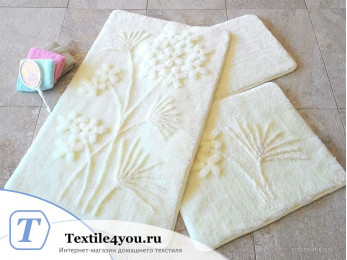 Набор ковриков для ванной DO&CO  ORKIDE (60x100 см; 50x60 см) Молочный (Екру)