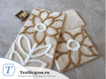Набор ковриков для ванной DO&CO  NATUREL (60x100 см; 50x60 см) Бежевый