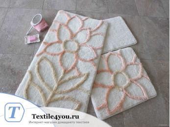 Набор ковриков для ванной DO&CO  NATUREL (60x100 см; 50x60 см) Персиковый