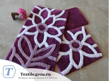 Набор ковриков для ванной DO&CO  NATUREL (60x100 см; 50x60 см) Фиолетовый