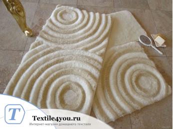 Набор ковриков для ванной DO&CO  WAVE (60x100 см; 50x60 см) Молочный (Екру)