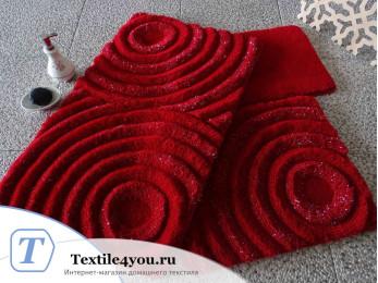 Набор ковриков для ванной DO&CO  WAVE (60x100 см; 50x60 см) Красный