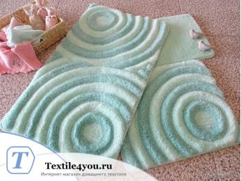 Набор ковриков для ванной DO&CO  WAVE (60x100 см; 50x60 см) Мятный
