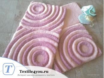 Набор ковриков для ванной DO&CO  WAVE (60x100 см; 50x60 см) Пудра