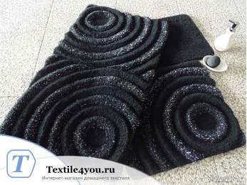 Набор ковриков для ванной DO&CO  WAVE (60x100 см; 50x60 см) Чёрный