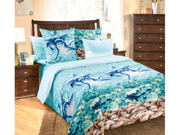 Постельное белье Хлопковый Рай Бязь КПБ Дельфины Бязь (1.5 спальный)