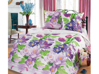 Постельное белье Хлопковый Рай Бязь КПБ Крокусы Бязь (1.5 спальный)