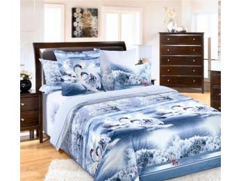 Постельное белье Хлопковый Рай Бязь КПБ Лебединое озеро Бязь (1.5 спальный)