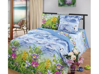 Постельное белье Хлопковый Рай Бязь КПБ Лебединое озеро (цветное) Бязь (Евро)
