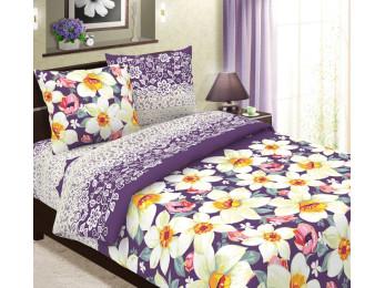 Постельное белье Хлопковый Рай Бязь КПБ Нарциссы вид фиолетовый Бязь (2 спальный)