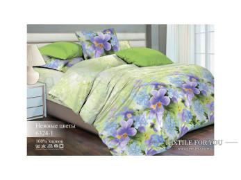 Постельное белье Хлопковый Рай Бязь КПБ Нежные цветы Бязь ГОСТ (2 спальный)