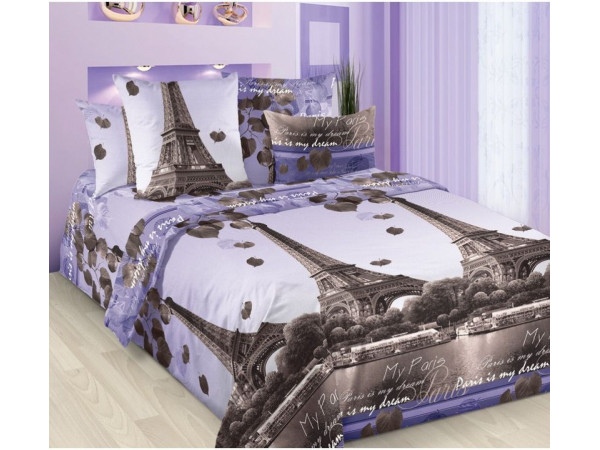 Постельное белье Хлопковый Рай Бязь КПБ Романтика Парижа Бязь (2 спальный)