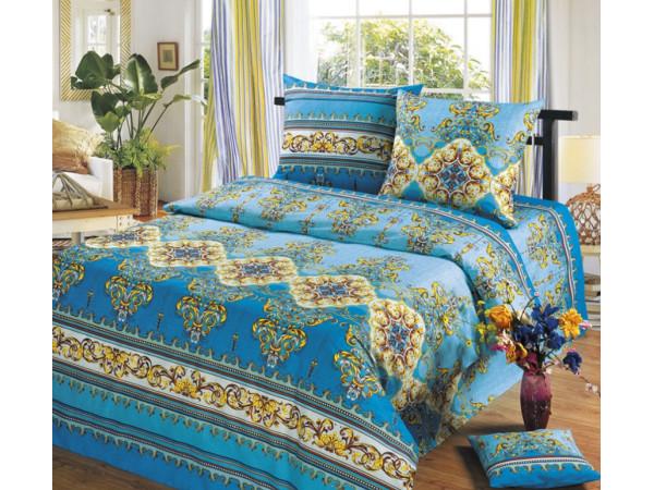 Постельное белье Хлопковый Рай Бязь КПБ Версаль голубой Бязь (1.5 спальный)