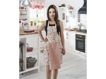 Фартук кухонный KARNA с велюровой салфеткой - (Пудра)
