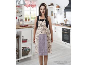 Фартук кухонный KARNA с велюровой салфеткой - Светло-сиреневый