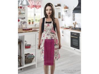 Фартук кухонный KARNA с велюровой салфеткой - (Фуксия)