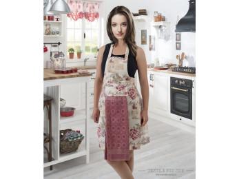 Фартук кухонный KARNA с велюровой салфеткой - (Грязно-розовый)