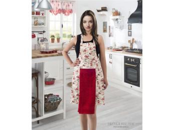 Фартук кухонный KARNA с велюровой салфеткой - (Красный)