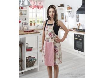 Фартук кухонный KARNA с велюровой салфеткой - (Розовый)