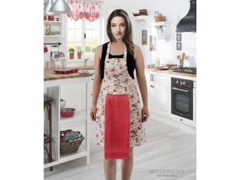 Фартук кухонный KARNA с велюровой салфеткой - (Абрикосовый)