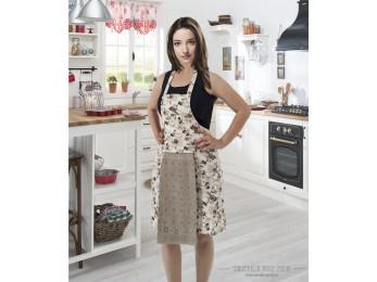 Фартук кухонный KARNA с велюровой салфеткой - (Кофейный)