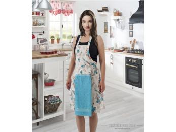 Фартук кухонный KARNA с велюровой салфеткой - (Бирюзовый)