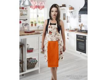 Фартук кухонный KARNA с велюровой салфеткой - (Оранжевый)