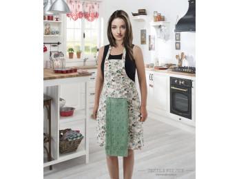 Фартук кухонный KARNA с велюровой салфеткой - Светло-зеленый