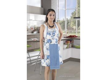 Фартук кухонный KARNA с махровой салфеткой - (Голубой)