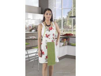 Фартук кухонный KARNA с махровой салфеткой - (Зеленый)