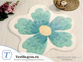 Коврик для ванной IRYA LAVIN цветок - (100x100 см) - Голубой
