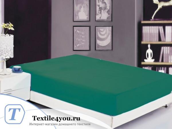 Простынь на резинке Valtery Софткоттон PRMF-19 (160x200 см) - Зеленый